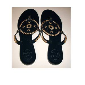 Jack Rogers Navy&Gold Georgica Jelly Thong Sandals